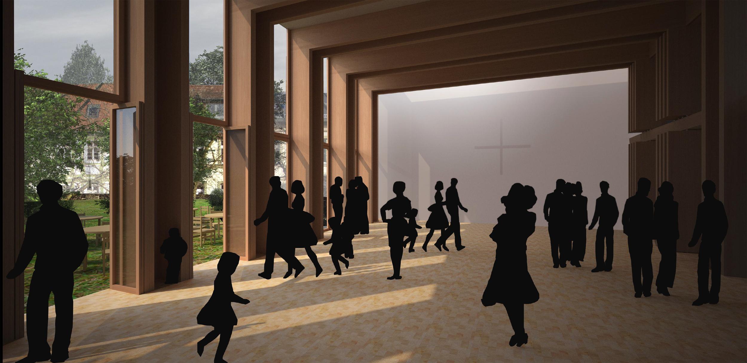 Innenraum Gemeindesaal mit Blick in den Pfarrgarten; © GAP, andreas gehrke architekten